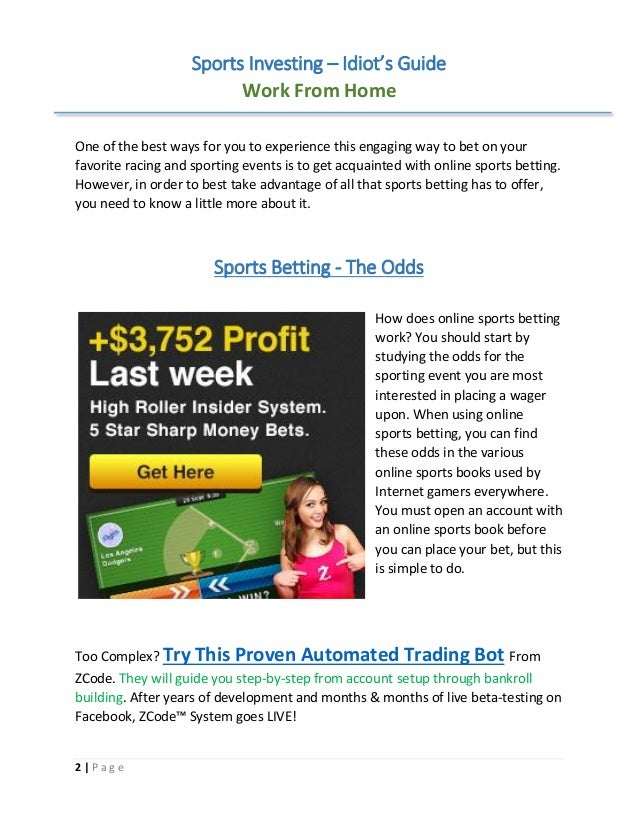 Idiot guide to sports betting pdf reader premined crypto currency charts