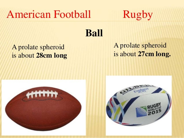 """an introduction to the comparison of rugby and american football In american football, play is measured in yards (1 yard is 9144 metres) with the field 100 yards long as opposed to a 100 metre field in rugby the offensive team tries to get as much """"yardage"""" as it can to try and move closer to the opponent's end zone."""