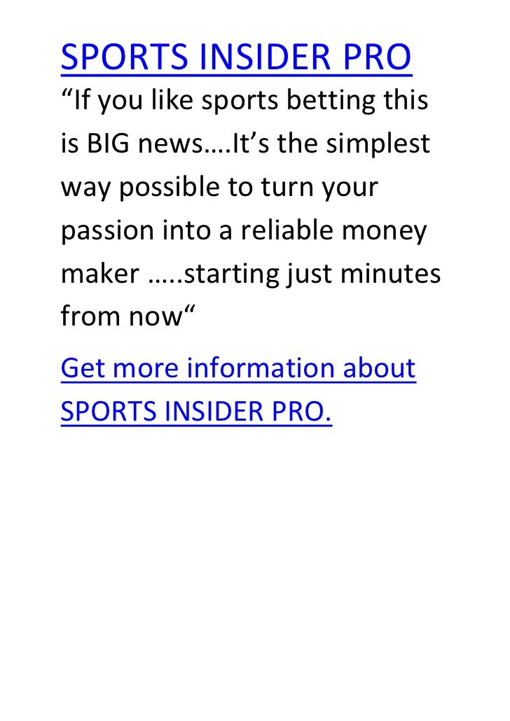 """If you like sports betting this is BIG news….It's the simplest way possible to turn your passion into a reliable money ma..."
