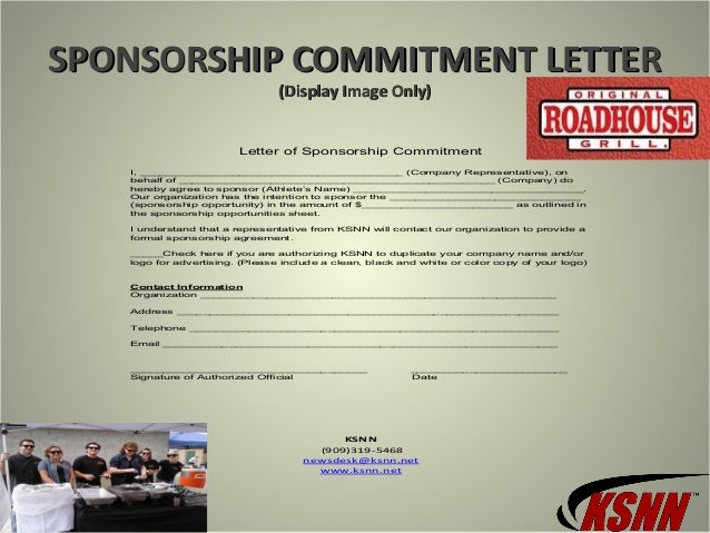 sponsorship commitment lettersponsorship commitment letter