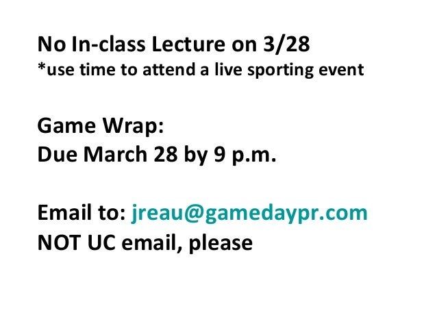 Sports PR lecture, March 21