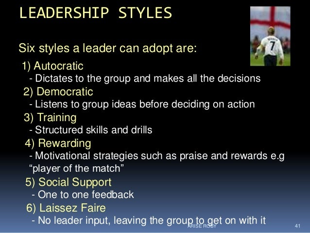 Leadership and the role of a leader in sports