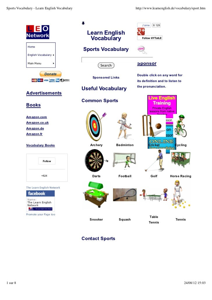 Sports Vocabulary - Learn English Vocabulary                                http://www.learnenglish.de/vocabulary/sport.ht...