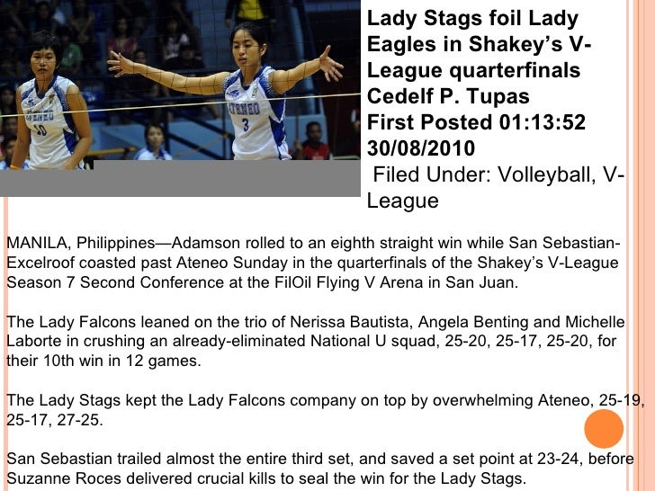 example of sports writing in volleyball tagalog