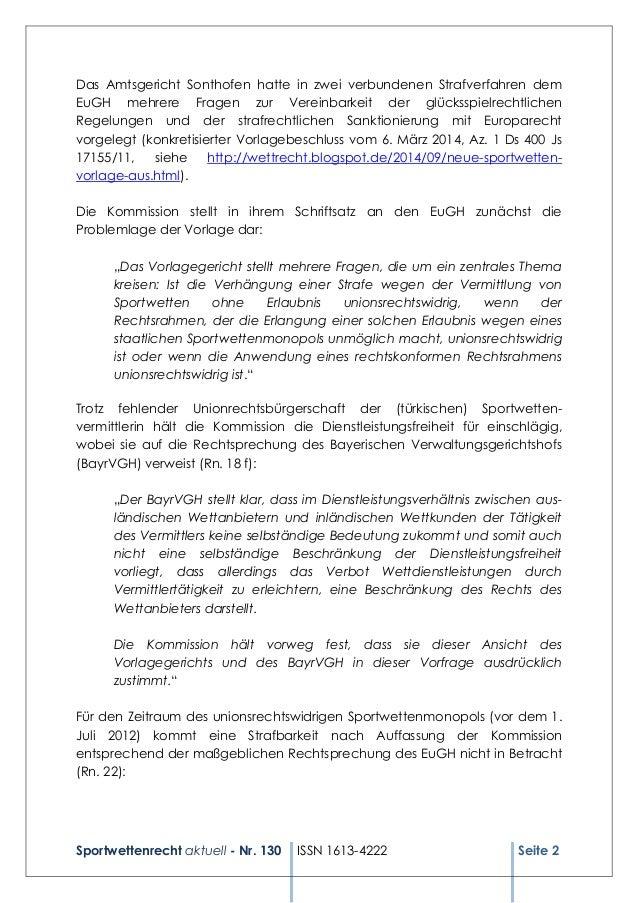 Sportwettenrecht aktuell - Nr. 130 ISSN 1613-4222 Seite 2 Das Amtsgericht Sonthofen hatte in zwei verbundenen Strafverfahr...