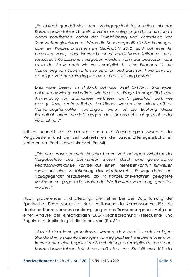 "Sportwettenrecht aktuell - Nr. 130 ISSN 1613-4222 Seite 5 ""Es obliegt grundsätzlich dem Vorlagegericht festzustellen, ob d..."