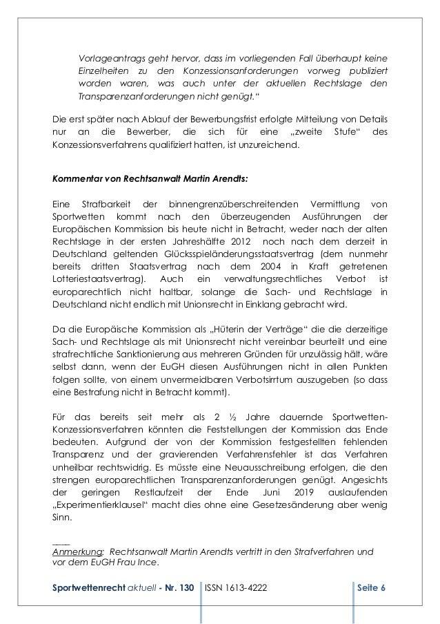 Sportwettenrecht aktuell - Nr. 130 ISSN 1613-4222 Seite 6 Vorlageantrags geht hervor, dass im vorliegenden Fall überhaupt ...
