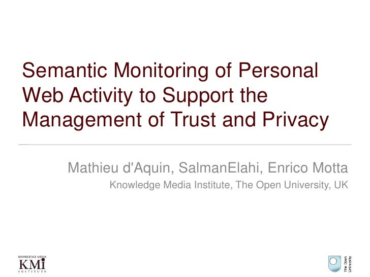 Semantic Monitoring of Personal Web Activity to Support the Management of Trust and Privacy<br />Mathieu d'Aquin, SalmanEl...