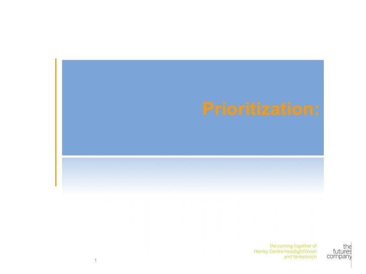 Prioritization: