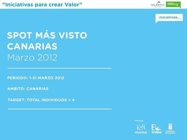 """""""Iniciativas para crear Valor"""" SPOT MÁS VISTO CANARIAS Marzo 2012 PERIODO: 1-31 MARZO 2012 AMBITO: CANARIAS  TARGET: TOTAL..."""