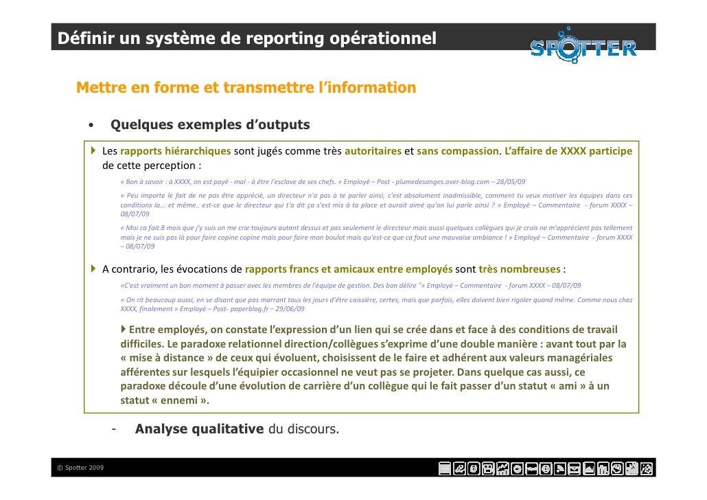 Définir un système de reporting opérationnel       Mettre en forme et transmettre l'information           •       Quelques...