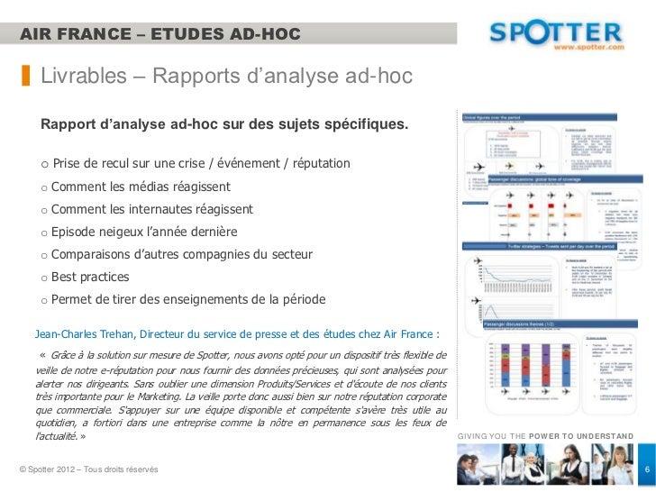 AIR FRANCE – ETUDES AD-HOC     Livrables – Rapports d'analyse ad-hoc     Rapport d'analyse ad-hoc sur des sujets spécifiqu...