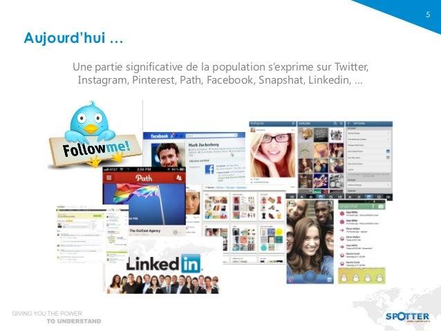 5 Aujourd'hui … Une partie significative de la population s'exprime sur Twitter, Instagram, Pinterest, Path, Facebook, Sna...