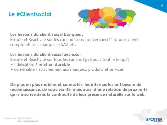 """8 Les besoins du client social basiques : Écoute et Réactivité sur les canaux """"sous-gouvernance"""" : forums clients, compte ..."""