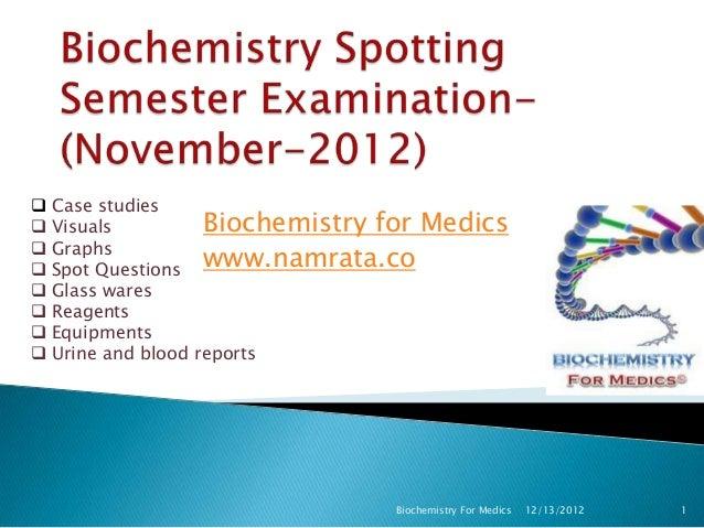    Case studies   Visuals          Biochemistry for Medics    Graphs    Spot Questions www.namrata.co   Glass wares ...