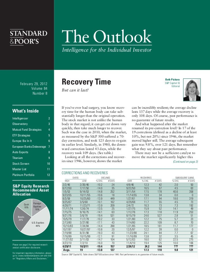 The Outlook                                               Intelligence for the Individual Investor        February 29, 201...