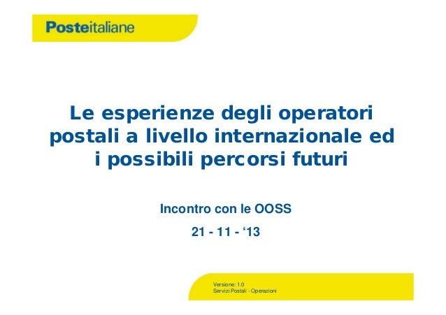 Le esperienze degli operatori postali a livello internazionale ed i possibili percorsi futuri Incontro con le OOSS 21 - 11...