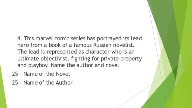 4. This marvel comic series has portrayed its lead hero from a book of a famous Russian novelist. The lead is represented ...