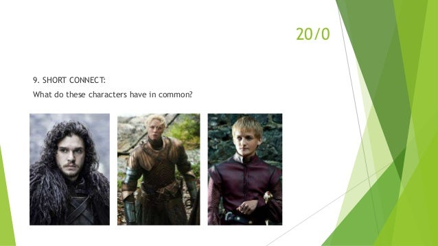 9. SHORT CONNECT: What do these characters have in common? 20/0