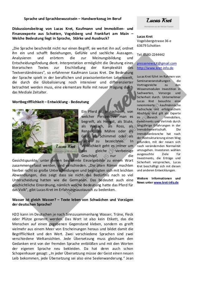 Sprache und Sprachbewusstsein – Handwerkzeug im Beruf  Diskussionsbeitrag von Lucas Kret, Kaufmann und Immobilien- und Fin...