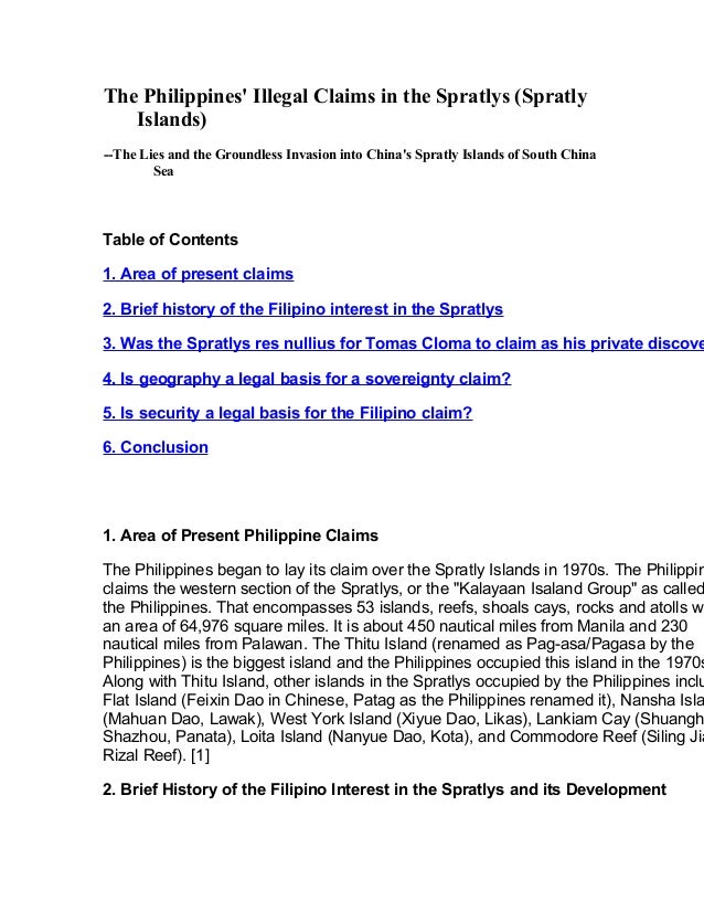 The Philippines' Illegal Claims in the Spratlys (Spratly Islands) --The Lies and the Groundless Invasion into China's Spra...