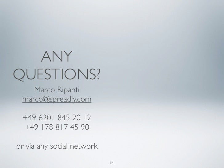 ANYQUESTIONS?    Marco Ripanti marco@spreadly.com +49 6201 845 20 12 +49 178 817 45 90or via any social network           ...