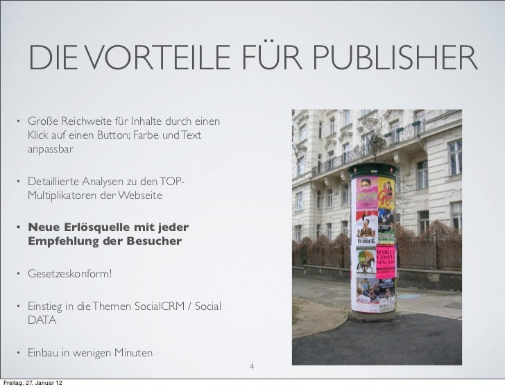 DIE VORTEILE FÜR PUBLISHER    •    Große Reichweite für Inhalte durch einen         Klick auf einen Button; Farbe und Text...