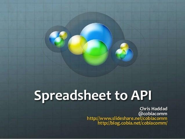 Spreadsheet to API  Chris Haddad  @cobiacomm  http://www.slideshare.net/cobiacomm  http://blog.cobia.net/cobiacomm/