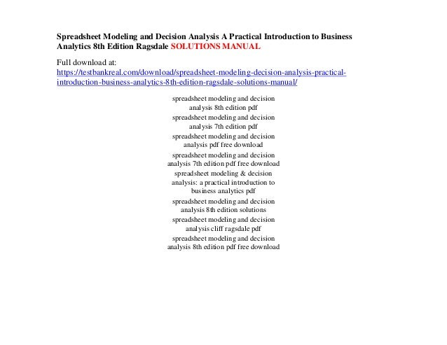 spreadsheet modeling and decision analysis a practical introduction t rh slideshare net Ragsdale Spreadsheet Modeling Answers Example of Pricing Models Excel