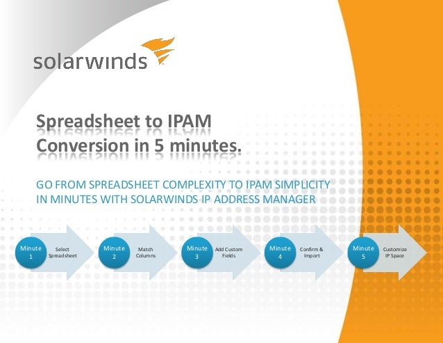 Spreadsheet to IPAM    Conversion in 5 minutes.    GO FROM SPREADSHEET COMPLEXITY TO IPAM SIMPLICITY    IN MINUTES WITH SO...