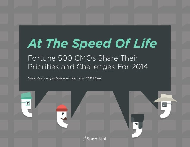 At The Speed Of Life Fortune 500 CMOs Share Their Priorities and Challenges For 2014 New study in partnership with The CMO...