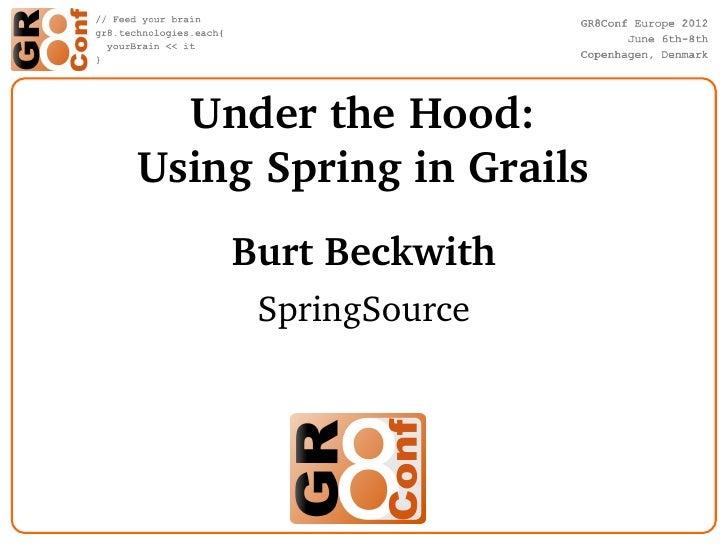 UndertheHood:UsingSpringinGrails    BurtBeckwith     SpringSource