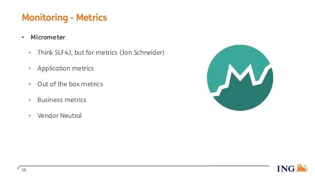Monitoring - Metrics 13 • Micrometer • Think SLF4J, but for metrics (Jon Schneider) • Application metrics • Out of the box...