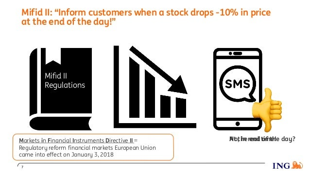 """Mifid II: """"Inform customers when a stock drops -10% in price at the end of the day!"""" 7 Mifid II Regulations ! At the end of..."""