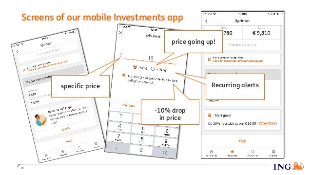 Screens of our mobile Investments app 8 price going up! specific price -10% drop in price Recurring alerts