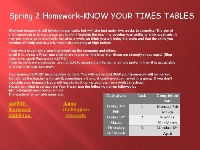 Spring 2 Homework-KNOW YOUR TIMES TABLES Weekend homework will involve longer tasks but will take just under two weeks to ...