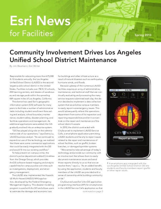 Community Involvement Drives Los Angeles Unified School District Maintenance By Jim Baumann, Esri Writer Responsible for e...