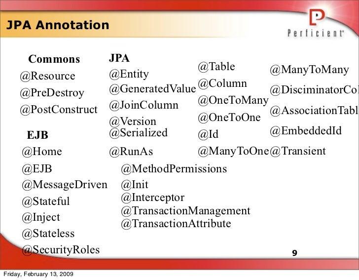 JPA Annotation                       JPA       Commons                                      @Table     @ManyToMany        ...