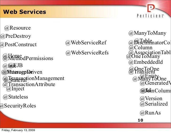 Web Services   @Resource                                               @ManyToMany @PreDestroy                            ...