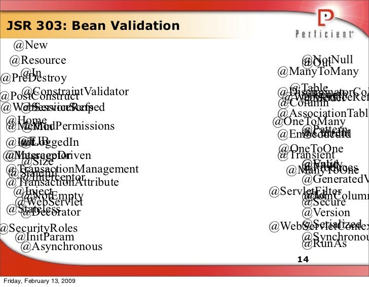 JSR 303: Bean Validation   @New                                  @NotNull  @Resource                       @Out           ...