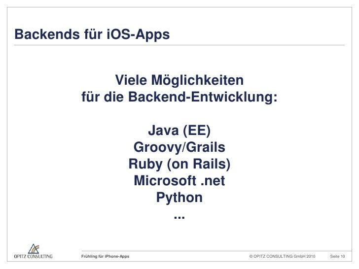 Backends für iOS-Apps<br />Viele Möglichkeiten<br />für die Backend-Entwicklung:<br />Java (EE)<br />Groovy/Grails<br />Ru...