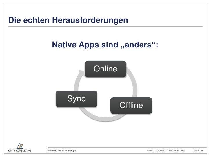 """Die echten Herausforderungen<br />Native Apps sind """"anders"""":<br />"""