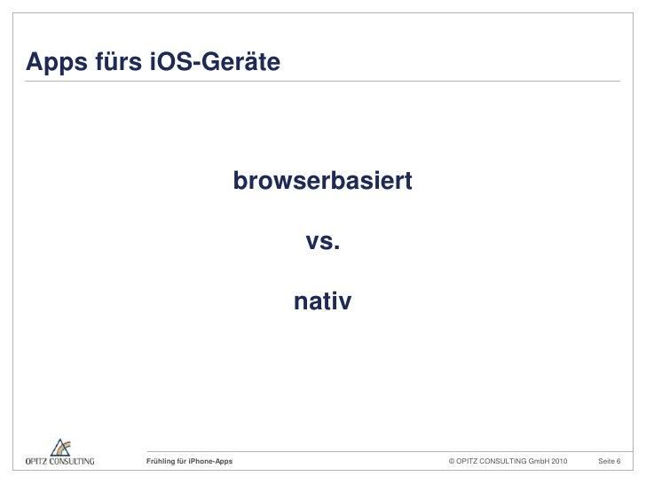 Apps fürs iOS-Geräte<br />browserbasiert<br />vs.<br />nativ<br />