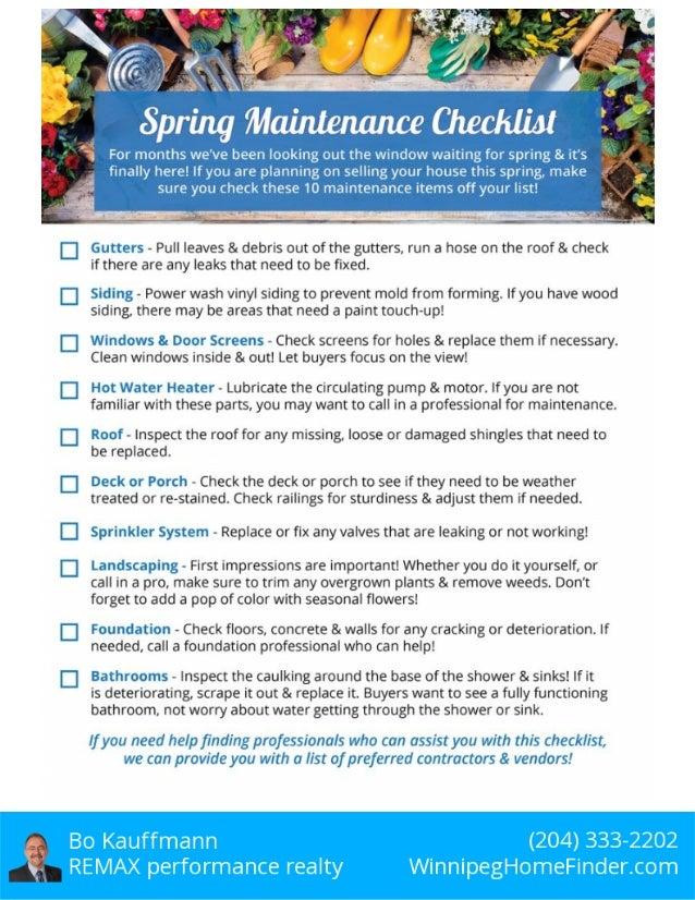 Spring Home Maintenance Chart