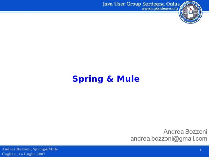 Spring & Mule Andrea Bozzoni [email_address] Andrea Bozzoni, Spring&Mule Cagliari, 14 Luglio 2007 1