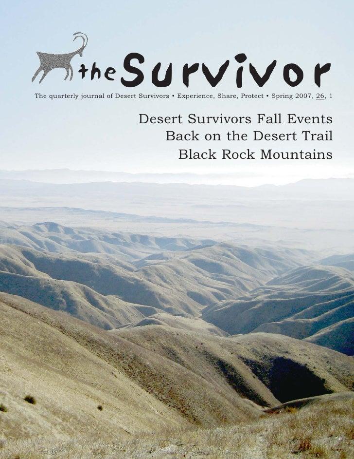 Spring 2007 The Survivior Newsletter ~ Desert Survivors
