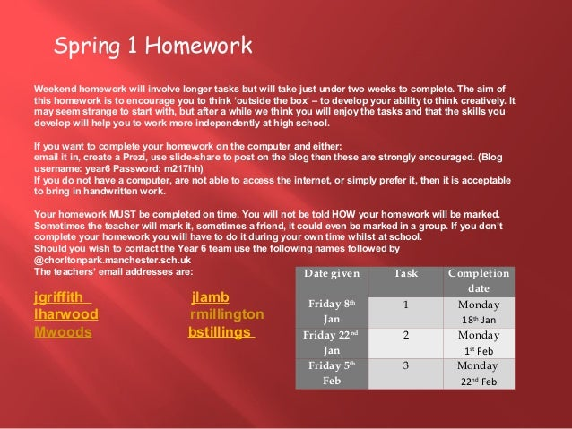 Spring 1 Homework Weekend homework will involve longer tasks but will take just under two weeks to complete. The aim of th...