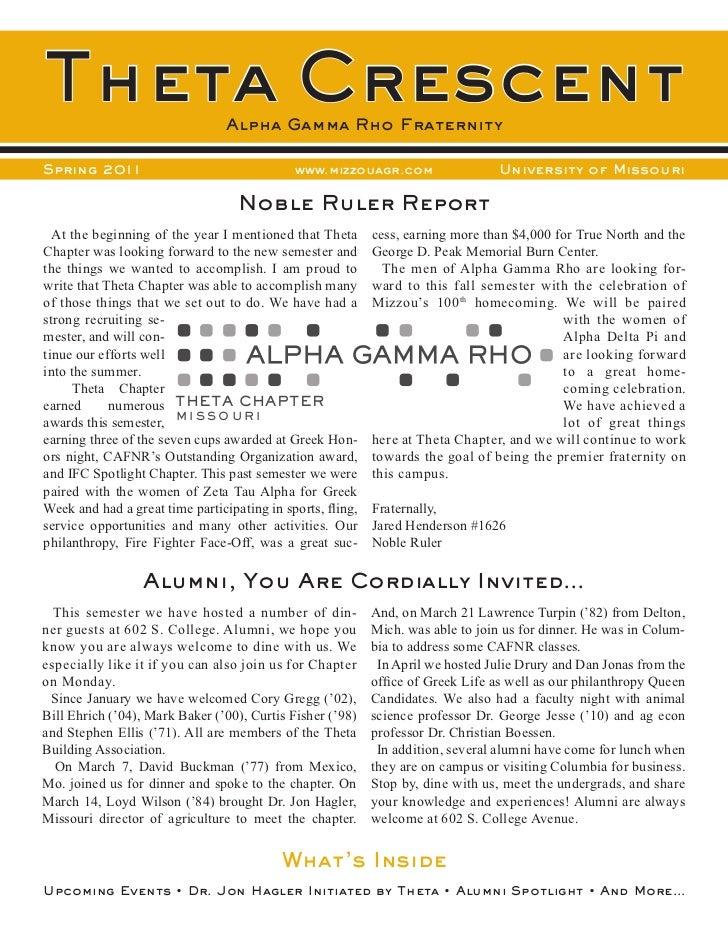 Theta Crescent                   Alpha Gamma Rho FraternitySpring 2011                                  www.mizzouagr.com ...