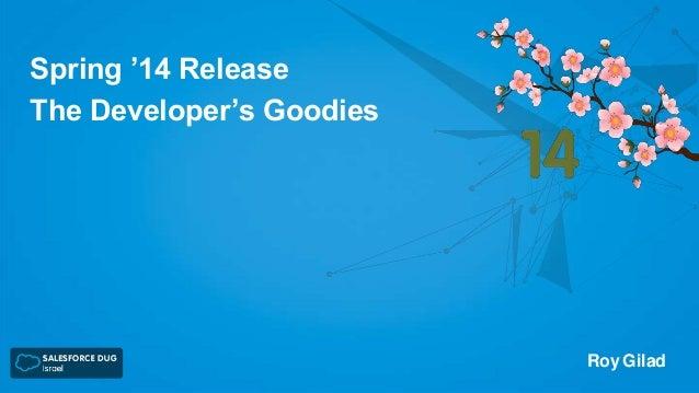 Spring '14 Release The Developer's Goodies  Roy Gilad