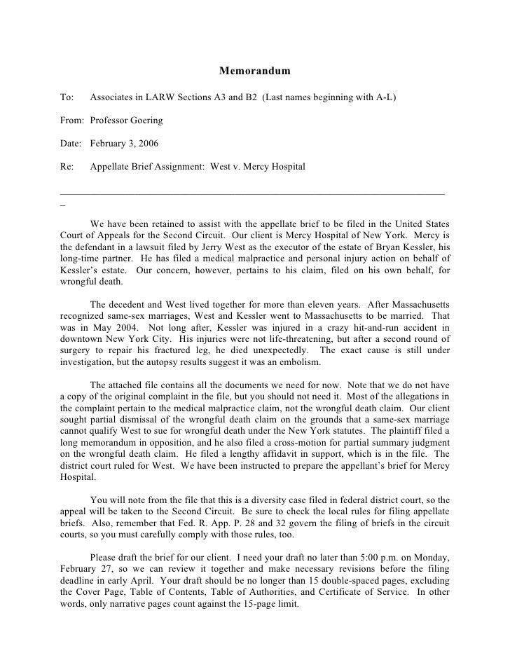MemorandumTo:     Associates in LARW Sections A3 and B2 (Last names beginning with A-L)From: Professor GoeringDate: Februa...